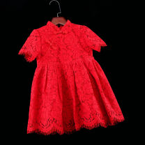 Parent child fashion Red awning short sleeves, red A-line flying sleeves Women's dress female Childhooddays / Xiong Yinuo 73, 80cm, 90cm, 100cm, 110cm, 120cm, 130cm, 140cm, 150cm, 155cm, 160cm, mom s, mom m, mom L, mom XL, mom XXL JM65 summer princess Thin money Solid color cheongsam other Class B