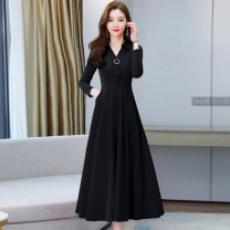 Dress Spring 2021 Red, black, Navy, green, khaki, gray, denim, pink M,L,XL,2XL,3XL longuette singleton  Long sleeves commute other High waist Solid color zipper Big swing routine Others Type A Korean version Pocket, zipper 1.8-5 51% (inclusive) - 70% (inclusive) other polyester fiber