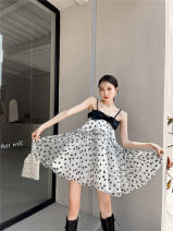 Dress Summer 2021 black and white S,M,L Middle-skirt singleton  Sleeveless Sweet other High waist Decor zipper Big swing routine camisole 25-29 years old Type X Other / other printing 1339# 31% (inclusive) - 50% (inclusive) brocade cotton princess