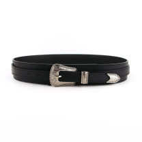 Belt / belt / chain Pu (artificial leather) black female belt Simplicity Single loop Youth, youth, middle age Pin buckle Flower design soft surface 4.3cm alloy alone 94cm