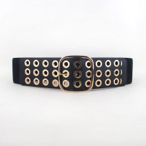 Belt / belt / chain Pu (artificial leather) Black, camel, red female Waistband Versatile Single loop Youth, youth, middle age Pin buckle Glossy surface soft surface 7.5cm alloy Bare, hollow, elastic 83cm