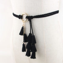 Belt / belt / chain Pu (artificial leather) Red, gray, black, camel, khaki, beige female belt Versatile Single loop Youth, youth, middle age Glossy surface Frosting 0.5cm Weaving, tassels, frosting 115cm