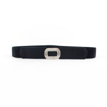 Belt / belt / chain other White, black female belt Versatile Single loop Youth, youth, middle age Smooth button Diamond inlay soft surface 3cm alloy Bare, inlaid, Rhinestone, elastic 70cm