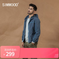 Jacket Simwood Youth fashion 170/M,175/L,180/XL,185/XXL,190/XXXL routine standard Other leisure autumn Long sleeves Wear out Hood Simplicity in Europe and America youth routine Zipper placket Straight hem washing Closing sleeve Zipper decoration cotton 50% (inclusive) - 69% (inclusive)