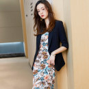 Dress Spring 2021 S M L XL 2XL 3XL 4XL 5XL longuette Two piece set three quarter sleeve commute tailored collar middle-waisted Solid color A button A-line skirt routine camisole 25-29 years old Classic of wind Korean version Button XN029-2 More than 95% polyester fiber Polyester 100%