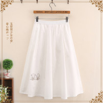 skirt Summer 2021 F code (single code) White two little animals black two little animals Mid length dress fresh High waist A-line skirt Cartoon animation Type A Under 17 2005117DF 51% (inclusive) - 70% (inclusive) Yufeifan cotton Asymmetric embroidery Cotton 65% polyester 35%