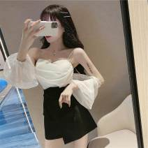 short coat Summer 2020 S M L White suspender black suspender black skirt white skirt Long sleeves have cash less than that is registered in the accounts routine singleton  Self cultivation One word collar Solid color 18-24 years old Ba Hanmei 96% and above 1860# other Other 100%