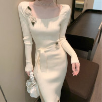 Women's large Autumn 2020 Picture color S M L XL singleton  commute Long sleeves Solid color Korean version square neck routine F2010510 Ou Yulin 18-24 years old longuette Other 100% Pure e-commerce (online only)