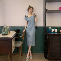 Cufflinks Blue long skirt [M] blue long skirt [l] blue long skirt [XL] leather pink skirt [M] leather pink skirt [l] leather pink skirt [XL] blue long skirt [S] leather pink skirt [S] other Ou Yulin Summer 2021