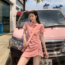 Women's large Summer 2020 Black Grey Pink S M L XL singleton  commute Short sleeve Solid color Korean version Polo collar routine Ou Yulin 18-24 years old Short skirt Other 100% Pure e-commerce (online only) Irregular skirt