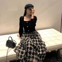 Women's large Autumn 2020 Black dress S M L XL Fake two pieces commute Long sleeves Solid color Korean version square neck puff sleeve C9N5594 Ou Yulin 25-29 years old longuette Other 100% Pure e-commerce (online only) Three buttons