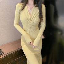 Lace / Chiffon Autumn 2020 Yellow black S M L Long sleeves commute Socket singleton  Self cultivation Medium length V-neck Solid color 18-24 years old Ou Yulin 2868#quyE Korean version Other 100% Pure e-commerce (online only)