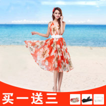 Dress Summer 2017 Orange lily, rose red lily, yellow lily S,M,L,XL Mid length dress singleton  Sleeveless commute V-neck Loose waist Decor Socket Ruffle Skirt other Others 25-29 years old Type A Yunjiao rose Korean version Ruffle, open back, print LW001 More than 95% Chiffon polyester fiber