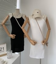 Dress Autumn 2021 White, black S, M Middle-skirt Sleeveless commute square neck High waist Solid color One pace skirt Type H Korean version