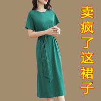 Dress Summer 2021 Green red black S M L XL XXL XXXL longuette singleton  Short sleeve commute Crew neck Loose waist Solid color Socket other routine Others 35-39 years old Type H Crossing posture Simplicity Color fixing with tie stitching resin DZ-8828 More than 95% brocade cotton