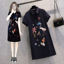 Women's large Summer 2021 Picture color Large L (recommended weight 100-120 kg) Large XL (recommended weight 120-140 kg) large 2XL (recommended weight 140-160 kg) large 3XL (recommended weight 160-180 kg) large 4XL (recommended weight 180-200 kg) Dress singleton  commute easy thin Socket Short sleeve