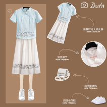 Women's large Summer 2021 Pink dress + white dress + blue dress + basket dress + white dress Large M (recommended weight 80-100 kg) large L (recommended weight 100-120 kg) Large XL (recommended weight 120-140 kg) large 2XL (recommended weight 140-160 kg) Other oversize styles Two piece set commute