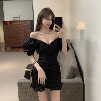 Dress Spring 2021 White, black Average size Short skirt Short sleeve commute High waist Solid color Socket 18-24 years old Korean version 51% (inclusive) - 70% (inclusive)