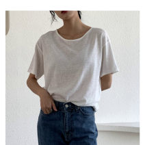 T-shirt Average size Spring 2020 Short sleeve Crew neck easy Regular routine commute cotton 51% (inclusive) - 70% (inclusive) 18-24 years old Solid color the mind