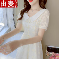 T-shirt Apricot S M L XL Summer 2021 Short sleeve Doll Collar Self cultivation Medium length routine Sweet other 96% and above 25-29 years old youth Solid color You mai 56042020ym Stitching three-dimensional decorative button embroidered lotus lace fold Other 100% solar system