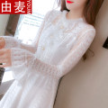 T-shirt white S M L XL Spring 2021 Long sleeves stand collar Self cultivation Medium length pagoda sleeve Sweet other 96% and above 25-29 years old youth Solid color You mai 723102020ym Pleat stitching three-dimensional decorative mesh button lotus lace fold nail bead hollowed out Other 100%