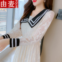 T-shirt Apricot Pink S M L XL Spring 2021 Long sleeves Admiral Self cultivation Medium length routine Sweet other 96% and above 25-29 years old youth Solid color You mai 3D Ruffle stitching lace with lace embroidery Other 100% solar system