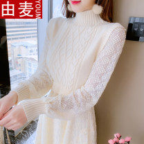 T-shirt Apricot 6785 apricot S M L XL Spring 2021 Long sleeves Half high collar Self cultivation Medium length routine Sweet other 96% and above 25-29 years old youth Solid color You mai 112922020ym 3D pleated stitching three dimensional decorative lace fold Other 100% Exclusive payment of tmall