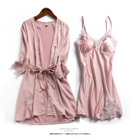 Pajamas / housewear set female Other / other M (80kg-100kg), l (100kg-120kg), XL (120kg-140kg), XXL (140kg-160kg) Pink, Burgundy, grey, Navy, champagne, black Iced silk Long sleeves sexy pajamas summer Thin money V-neck Solid color double-breasted youth 2 pieces More than 95% silk printing