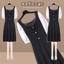Dress Summer 2021 black S M L XL longuette singleton  Short sleeve commute square neck High waist Solid color Socket A-line skirt routine Others 25-29 years old Type A Lungge lady Button 2021-404-10 More than 95% knitting polyester fiber Polyester 100% Pure e-commerce (online only)