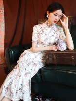 cheongsam Summer 2020 S M L XL XXL XXXL Picture color Short sleeve long cheongsam Retro High slit daily Be open-minded Decor Piping JFX-110 LAN Guiyu other Other 100% Pure e-commerce (online only) 96% and above