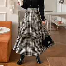 skirt Autumn 2020 M L lattice Mid length dress commute Natural waist A-line skirt lattice Plaid skirt 1206 More than 95% Yizexiang cotton Korean version Cotton 100% Pure e-commerce (online only)