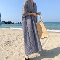 Dress Summer of 2019 lattice S M L XL longuette elbow sleeve commute V-neck lattice Socket 18-24 years old Yizexiang Korean version Bubble Plaid Dress More than 95% polyester fiber Polyester 100% Pure e-commerce (online only)