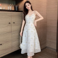 Dress Summer 2021 white S,M,L Middle-skirt singleton  Sleeveless Sweet V-neck High waist Solid color zipper A-line skirt camisole 18-24 years old Type A 31% (inclusive) - 50% (inclusive) other other