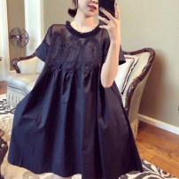 Dress Summer 2020 Black and white S M L XL 2XL 3XL longuette singleton  Short sleeve commute Crew neck Loose waist Solid color Socket A-line skirt other Others 25-29 years old Type A Snow Charm Retro Splicing BXMB2334B More than 95% polyester fiber Polyester 100% Pure e-commerce (online only)