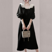 Dress Spring 2021 black M L XL 2XL 3XL 4XL longuette singleton  Long sleeves commute V-neck High waist Solid color Socket A-line skirt bishop sleeve Others 25-29 years old Snow Charm Retro Splicing More than 95% other Other 100% Pure e-commerce (online only)