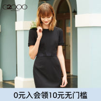 Dress Summer of 2019 Short skirt singleton  Short sleeve commute Crew neck High waist Solid color zipper One pace skirt routine Others 25-29 years old Type H G2000 lady zipper 71% (inclusive) - 80% (inclusive) polyester fiber Pure e-commerce (online only)