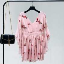 Dress Spring 2020 Pink S,M,L Short skirt three quarter sleeve commute V-neck High waist Decor Socket Big swing pagoda sleeve Others 18-24 years old Type A Other / other Korean version Ruffle, open back, stitching, zipper, print 30% and below Chiffon polyester fiber