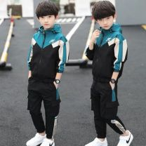 suit Other / other Blue, yellow, green 120cm,130cm,140cm,150cm,160cm,170cm currency spring and autumn leisure time Long sleeve + pants routine There are models in the real shooting Zipper shirt No detachable cap Solid color cotton children Expression of love Class B