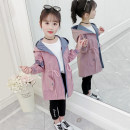 Windbreaker Pink, off white The recommended height is about 105cm for 110, 115cm for 120, 125cm for 130, 135cm for 140, 145cm for 150 and 155cm for 160 Other / other female spring and autumn Simplicity No detachable cap Zipper shirt Medium length Solid color polyester fiber The belt is not detachable