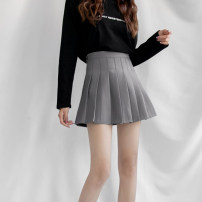 skirt Summer 2021 XXS,XS,S,M,L Gray, black Miniskirt Versatile High waist Pleated skirt Solid color Type A 18-24 years old knitting polyester fiber