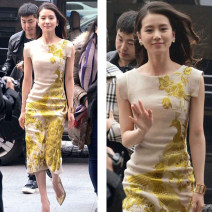 Dress Spring 2021 yellow S M L XL XXL Mid length dress singleton  Sleeveless commute Crew neck High waist Animal design Socket other other Others 25-29 years old Type H Yinzeun / contrast ethnic style Embroidered zipper More than 95% polyester fiber Pure e-commerce (online only)