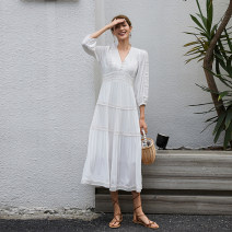 Dress Spring 2021 White red S M L XL 2XL longuette singleton  three quarter sleeve Sweet V-neck High waist Solid color Socket A-line skirt bishop sleeve 25-29 years old Type A Yinzeun / contrast Cut out embroidered stitching button More than 95% other Viscose (viscose) 100% Bohemia