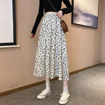Women's large Spring 2021 White black Average size skirt singleton  commute thin Broken flowers Korean version Polyester cotton A84 Xianwan Poetry 18-24 years old Middle-skirt Polyester 100% Pure e-commerce (online only)