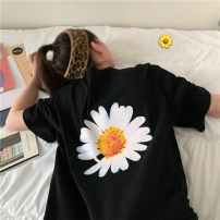 Women's large Spring 2021 Black white grey M L XL 2XL T-shirt singleton  commute easy thin Socket Short sleeve Korean version Crew neck Medium length printing and dyeing routine S822 Xianwan Poetry 18-24 years old 30% and below Polyester 65% Cotton 30% polyurethane elastic fiber (spandex) 5%