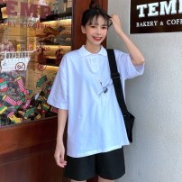 Women's large Summer 2020 White black M L XL T-shirt singleton  commute easy moderate Socket Short sleeve Animal design Korean version Polo collar Medium length Polyester cotton printing and dyeing routine Xianwan Poetry 18-24 years old Embroidery 51% (inclusive) - 70% (inclusive)