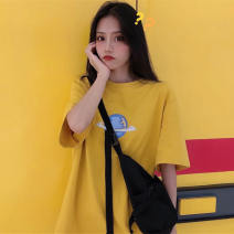 shirt White black blue yellow M L XL Summer 2021 polyester fiber 51% (inclusive) - 70% (inclusive) Short sleeve commute Medium length Crew neck routine other 18-24 years old Straight cylinder Xianwan Poetry Korean version S701 Polyester 65% Cotton 30% polyurethane elastic fiber (spandex) 5%
