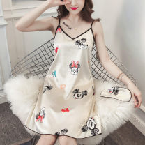 Nightdress Other / other 160(M),165(L),170(XL),175(XXL) Sweet camisole Leisure home Middle-skirt summer Cartoon animation youth V-neck Iced silk printing More than 95% 200g and below