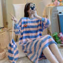 Nightdress Other / other M, l, XL, XXL Sweet Long sleeves pajamas longuette winter stripe youth Crew neck Polyester (polyester) printing More than 95% Flannel