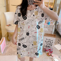 Nightdress Other / other 160 (m), 165 (L), 170 (XL), 175 (XXL), can be worn within 180 kg Sweet Short sleeve Leisure home Middle-skirt summer Cartoon animation youth Crew neck cotton printing More than 95% pure cotton 200g and below