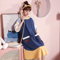 Nightdress Other / other 160(M),165(L),170(XL),175(XXL) Sweet Short sleeve pajamas longuette summer Cartoon animation youth Crew neck cotton printing More than 95% pure cotton